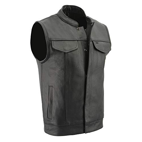Milwaukee Leather LKM3713 Men's Leather Open Neck Snap and Zip Front Club Style Vest with External Gun Pocket - X-Large