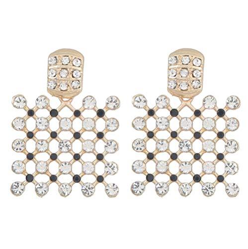 Vvff Pendientes De Diamantes De Imitación Cuadrados Huecos De Metal Pendientes De Gota De Exageración Populares Para Mujeres Accesorios De Joyería