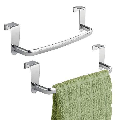 mDesign Juego de 2 barras para colgar paños de cocina – Colgadores de cocina para las puertas de los armarios – Toalleros de baño de metal – plateado