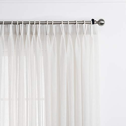 LANTIME Semi Sheer Curtains 96 inches Long, Faux Linen Double Pleated Window Sheer Curtains Panels Drapery for Home, Hotel, Office, White, 72 W x 96 L Inch Each, Set of 2