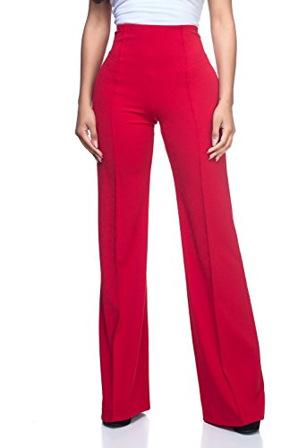 Women's High Waist Dress Pants, Large, Red