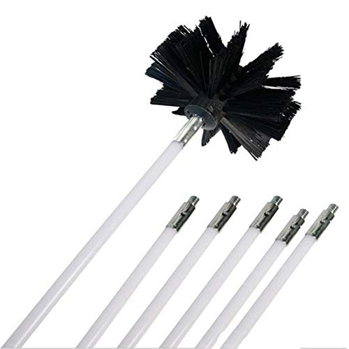 Best Deals! Wang shufang 1set Nylon Brush with 6pcs Long Handle Flexible Pipe Rods for Chimney Kettl...