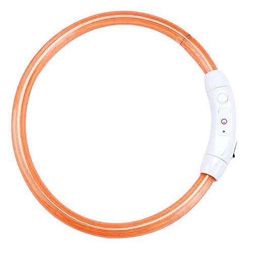 Fnsky LED-Hundehalsband, USB wiederaufladbar, Sicherheitshalsband für Hunde, blinkende Halskette, Macht Ihren Hund bei Nacht sichtbar, Orange, 70 cm