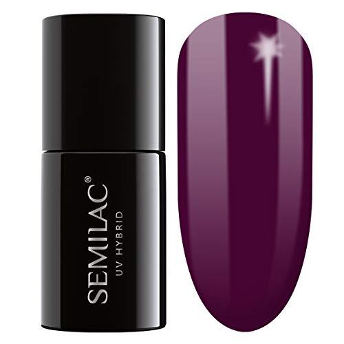 Semilac Hybrid Nagellack | Lila Farb | 083 Burgundy Wine | 7 ml | UV LED Farblack für Farbintensive...