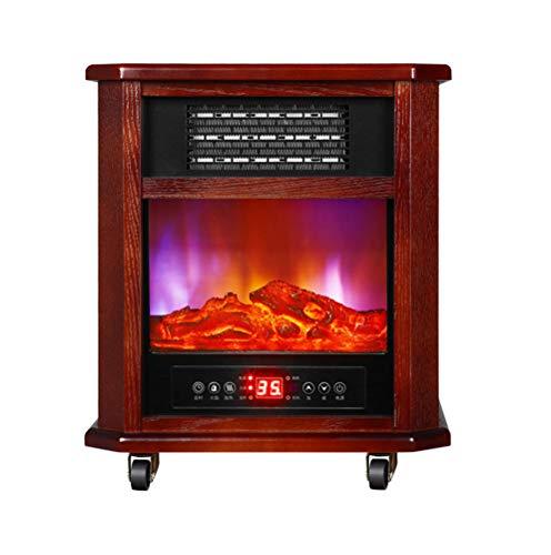 Elektrische oven A vrijstaand met beweegbare wielen, licht, elektrische open haard voor tafel, vlam, met 3D-register Redwood