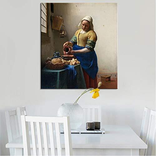 TBWPTS Canvas Schilderij Kunstenaar Melkmeisje Poster en Prints Wall Art Canvas Pianting decoratieve foto woonkamer