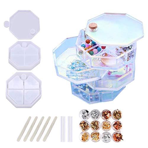 ZJL220 1 juego de joyas organizadoras de resina de silicona para mujeres y niños. Joyero giratorio multicapa para pulseras, anillos, collares, pulseras y pintalabios.