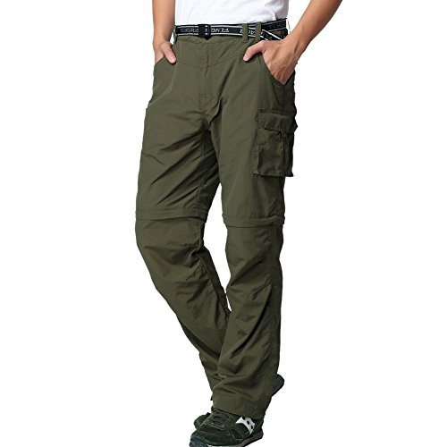 JOMLUN Men's Outdoor Quick Dry Convertible Lightweight Hiking Fishing Zip Off Cargo Work Pant Army Green