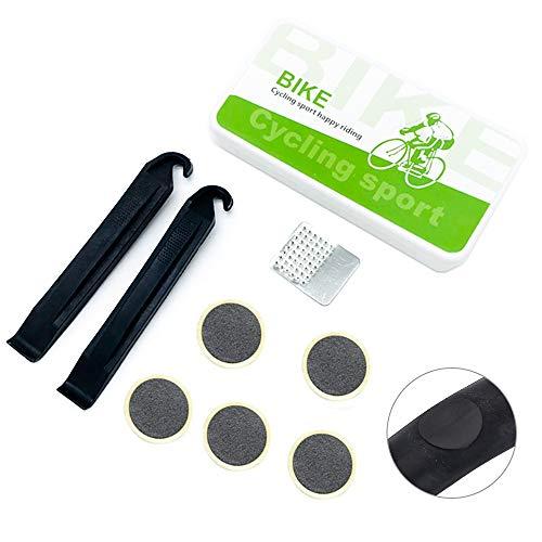 Juego de 8 parches autoadhesivos para reparación de pinchazos para bicicletas, 5 parches autoadhesivos sin pegamento + 2 palancas de neumáticos + 1 escofina de metal