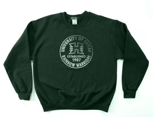Hawaii Rainbow Warriors 50/50 Blended 8-Ounce Vintage Circle Crewneck Sweatshirt, Large, Forest
