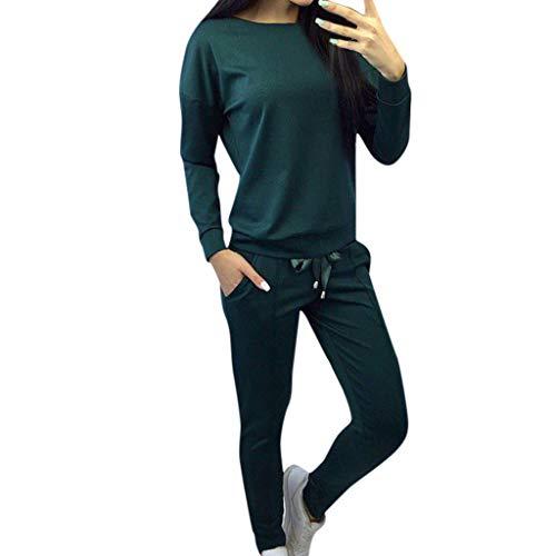 Amcool Damen Sportanzüge, 2 Stück Set Jogginganzug Trainingsanzug Freizeitanzug Sexy Brief Gedruckt Kapuzenpullover Sweatshirts Tops +Lange Hosen