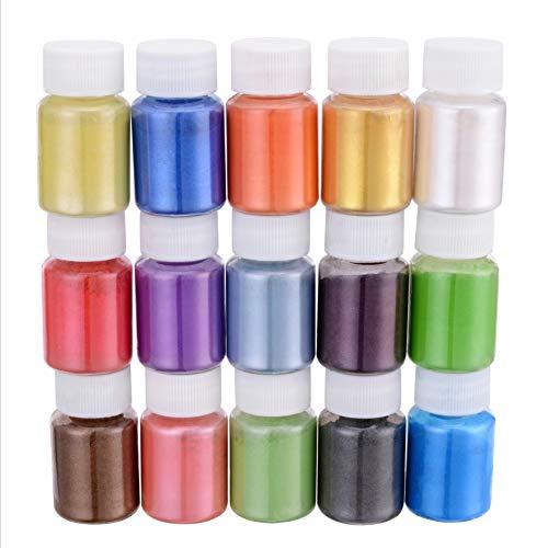 XINLINTRA 150g Naturale Pigmenti Coloranti, Mica Powder 10g*15 Colori Mica Polvere Colorante Polveri Perlato per DIY,Sapone, Slime,Candele, Acquerello, Cosmetici