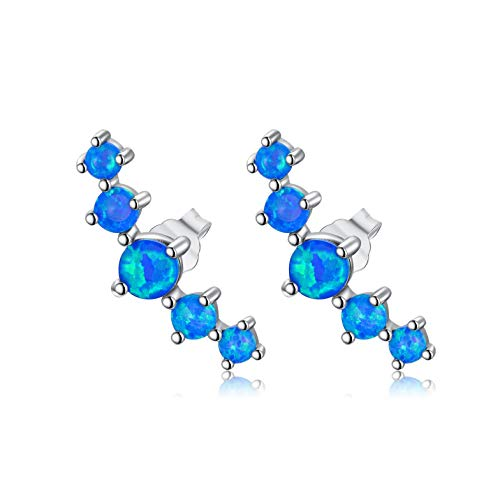 LONAGO Argent Sterling 925 Clous D'Oreilles Opale Bleu Blanc Coupe Ronde Simulé Opale Des Boucles D'oreilles Bijoux pour Femmes (Opale Bleue)