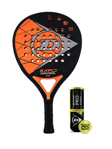 Dunlop Rapid Control 2.0 - Raqueta de pádel (incluye funda protectora y 3 pelotas Dunlop Pro Padel