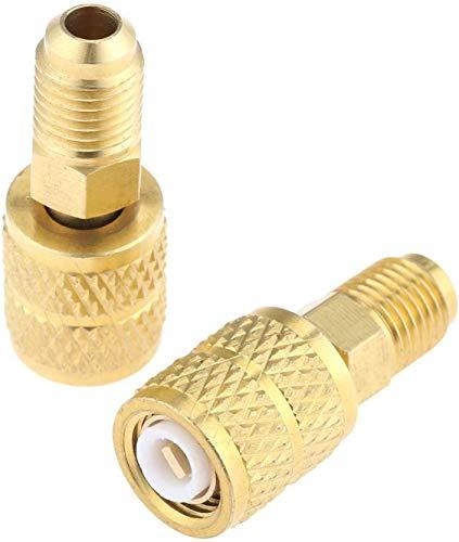 Be Quiet Mall 2 Stück R410a gerader Adapter 5/16 Zoll SAE-Buchse 1/4 Zoll SAE-Ladeschlauch auf Vakuumpumpe für Mini Split Klimaanlagen Filterbürste
