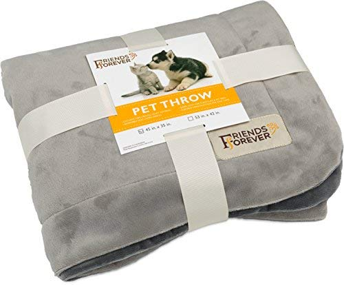 Friends Forever Durable Dog Blanket for Couch Protection   Two Tone Reversible Pet Hair Resistant Blanket for Dogs Cats Bed Kennel Crate Car Seat - Soft Velvet, Warm Fleece (Large 53x42) …