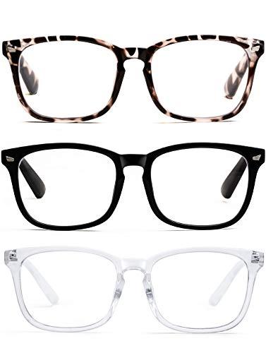 3-Pack Anti Blue Reading Glasses for Women Square Readers Magnification Eyeglasses Tortoise/Black/Clear Eyeglass Frame Nerd Glasses