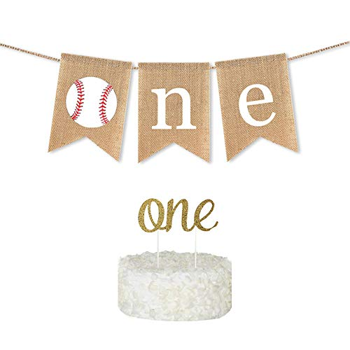 Baseball Themed Birthday Party Supplies, Baseball Happy Birthday Banner,Burlap Highchair Banner,Baseball 1st Birthday Banner One Cake Topper for First Birthday Party Decorations Baby Shower Supplies