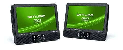 Muse M-990 CVB tragbarer DVD-Player Auto (22,9 cm (9 Zoll), USB, SD / MMC-Kartenleser, AV-Anschluss) mit 2 Bildschirmen und stabiler Halterung für die Kopfstütze (Spange)