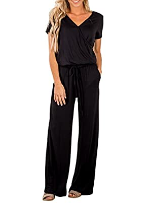 Dearlove Womens Casual V Neck Short Sleeve Loose Wide Legs Elastic Waist Long Pant Jumpsuits Rompers with Pockets Solid Black Large