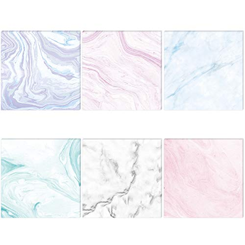 6 Pack Marble Adhesive Sticky Note Pads 35x35 Inch Memo Self-Stick Note for Office Home School