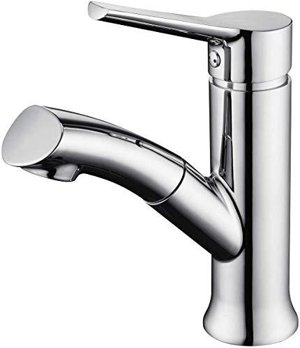 LONHEO chrom Waschtischarmatur mit herausziehbarer Handbrause, moderner Bad Wasserhahn, Waschbeckenarmatur ideal zum Haarewaschen.