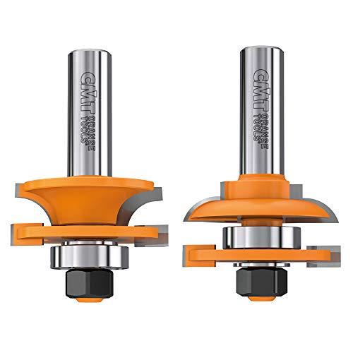CMT 891.502.11 2 pièces Rail et Stile Bit Set, 1/5,1 cm Tige, 1–3/10,2 cm de diamètre, tête en carbure
