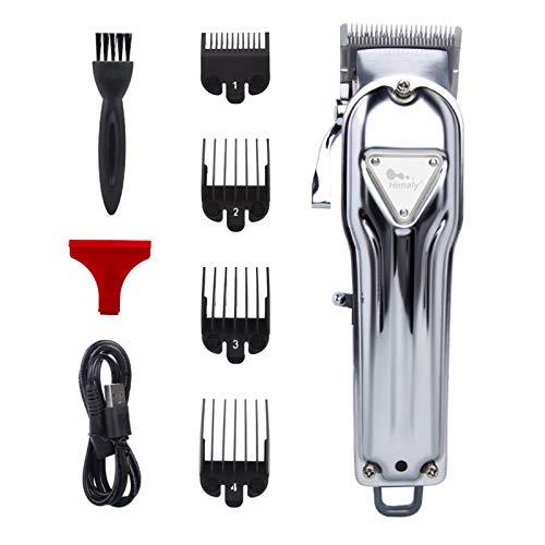 Himaly Cortapelos Profesional Hombre Electrónico Corte Pelo Profesional Máquina Cortar Pelo Recortador de Barba Cortadora de Pelo USB Recargable (Plata*Grande)