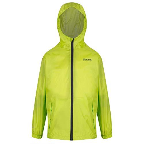 Regatta Kinder Kid Pack It III Waterproof and Breathable Unlined Lightweight Hooded Jacke, Neongrün (Lime Punch), 7-8