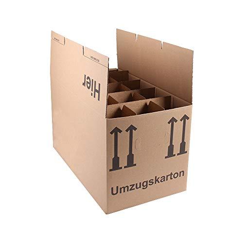 A&G-heute 5 Stück Gläserkartons 15 Fächer Flaschenkartons Geschirrkartons 2-wellig inkl Gläsereinsatz