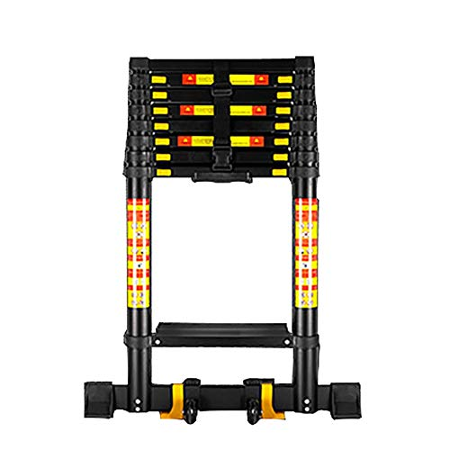 Erru Black Extension Tall Ladder Thick Aluminum Extendable Ladder with Stabilizing Bar, Heavy Duty Engineering Straight Ladder (Size : 4.6m/15ft)