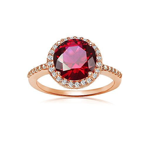 Ice Gems Rose Gold Flashed Sterling Silver Simulated Ruby and Cubic Zirconia Round Halo Ring, Size 5