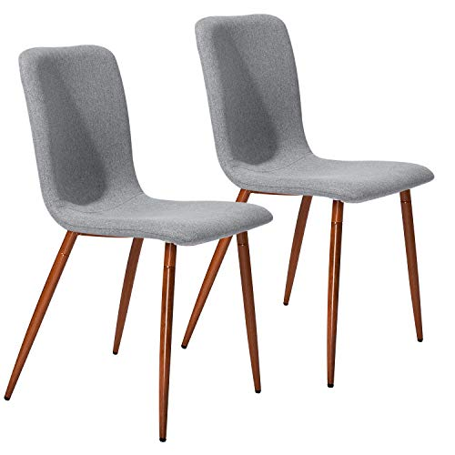 Dining Kitchen Chairs Set of 2 Modern Dining Room Side Chairs with Fabric Cushion Seat Back, Mid Century Living Room Chairs with Brown Metal Legs, Gray
