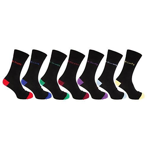 Textiles Universels Chaussettes fantaisie (lot de 7 paires) - Homme (39-45 EUR) (Noir)