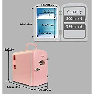 Koolatron Retro Mini Fridge/Cooler, 4 Liter/6 Can Portable Cooler AC/DC with Thermoelectric Technology, for Skincare, Foods, Medications, Cosmetics, Home and Travel, ETL Listed, Pink