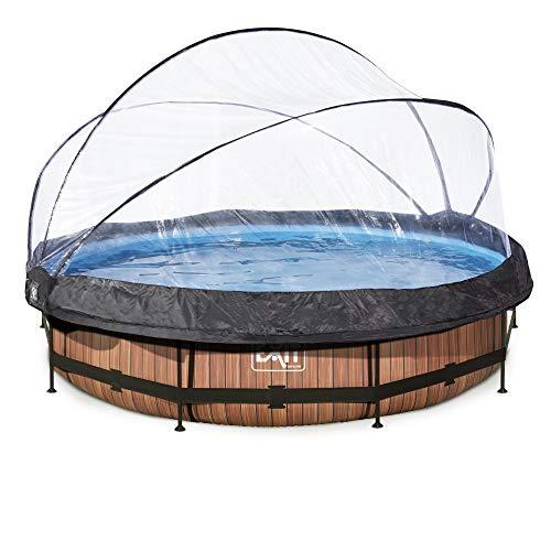 EXIT Wood Pool ø360x76cm mit Abdeckung und Filterpumpe - braun