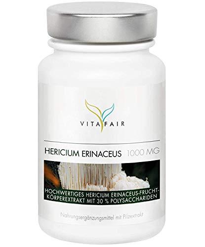 Hericium Extrakt - 1000mg pro Tagesdosis - 90 Kapseln - 30% Polysaccharide = 300mg - Hochdosierter Hericium Erinaceus - Igelstachelbart Pilzextrakt - Vegan - Ohne Magnesiumsterat - German Quality