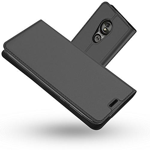 RADOO Moto E5 Hülle,Moto G6 Play Hülle, Premium PU Leder Handyhülle Brieftasche-Stil Magnetisch Folio Flip Klapphülle Etui Brieftasche Hülle Hülle Cover für Motorola Moto E5/Moto G6 Play (Schwarzgrau)