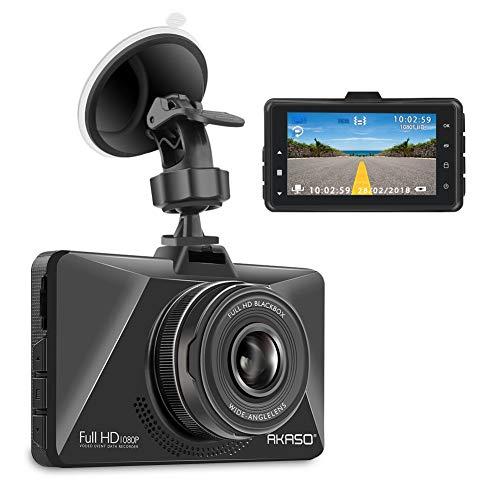 AKASO Caméra Voiture Embarquée Conduite Enregistreur Full HD 3 Pouces 1080P Surveillance Jour et Nuit, Dashcam Avant Grand Angle 170 Degrés Capteur-G Détection de Mouvement Parking Moniteur WDR