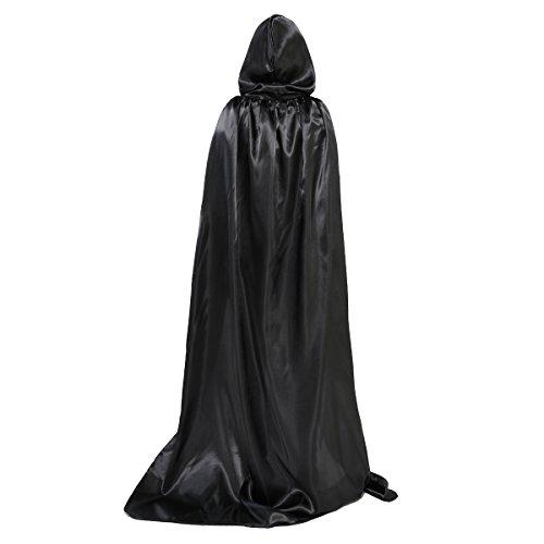 HUNTFORGOOD Capa con Capucha Largo para Mujeres y Hombres Disfraz de Vampiro Carnaval Halloween Negro