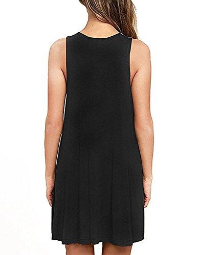 HAOMEILI Women Summer Beach Casual Flared Tank Dress M Black