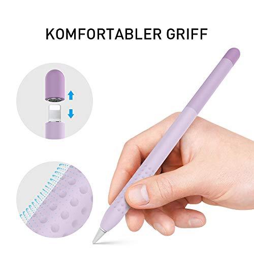 Delidigi Farbverlauf Hülle Silikon Case Schutzhülle Griff Zubehör Kompatibel mit Apple Pencil 1.Generation (Lavendel)