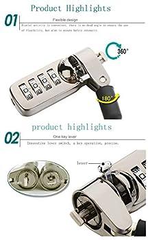 CaLeQi Câble verrou de sécurité pour Ordinateur Portable, PC et écran avec Combinaison - câble Noir de 2 m (Verrouillage de l'ordinateur)