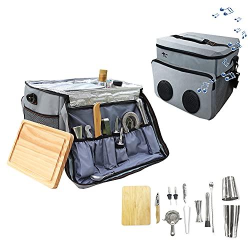 Borsa da viaggio per barman, Sky Fish 13 pezzi Kit da barman che include strumenti da bar e borsa da bar isolata per viaggi, campeggio, picnic e feste.