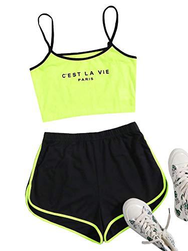 SOLY HUX Conjunto de pantalones cortos y tops de 2 piezas para mujer, parte superior de la barriga, pantalones cortos, traje de casa, conjunto de 2 piezas Verde Lima Negro XS