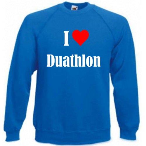 Reifen-Markt Sudadera I Love Duathlon para mujer, hombre y niños en los colores negro, blanco y azul con estampado azul S