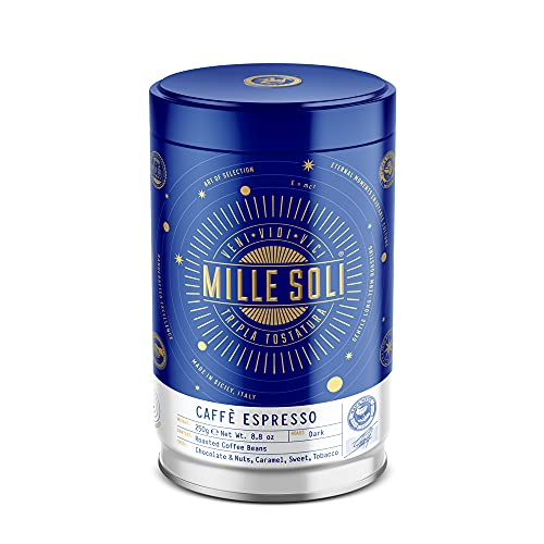 MilleSoli Caffè Espressobohnen 250g Dose - Traditionelle Dreifachröstung In Handarbeit - Premium Kaffeebohnen mit perfekter Crema und besonders säurearm für Vollautomat und Siebträger