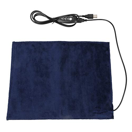 Akozon USB Almohadilla Térmica Eléctrica con Calor Rápido, Seguridad 5V Fibra de Carbono de Negro Mini 24 * 30 cm para Cojin, Cama de Mascota 45 ℃