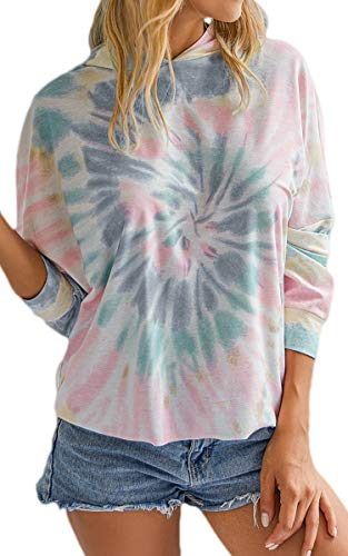 Material: 85% Polyester + 15% Cotton. This women's tie dye shirt is not easy to deform. Style: This women's hoody is featured with Tie Dye Print, Long Batwing Sleeves, Loose Fitting and in a casual style. Occasions: This tie dye hoody is versatile fo...