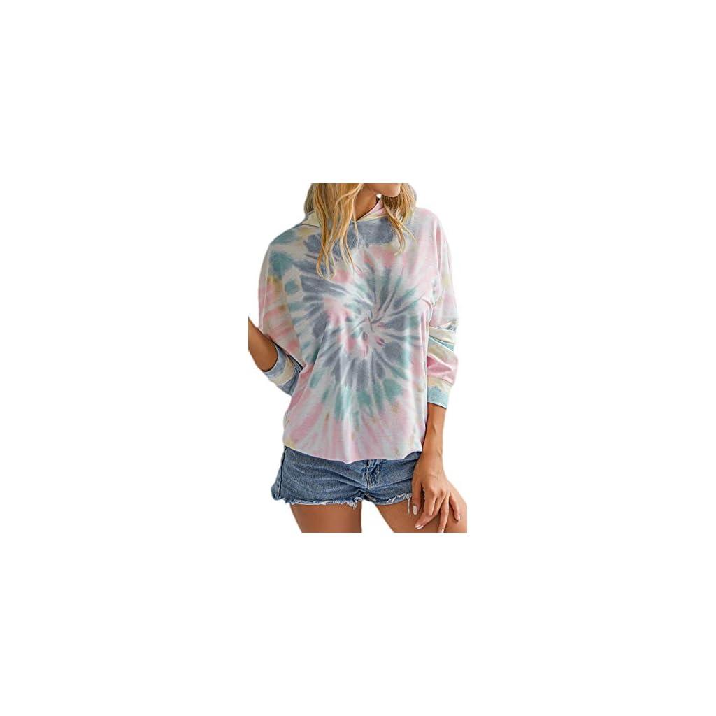 Theenkoln Women's Tie Dye Tops Casual Hooded Pullover Long Batwing Sleeve Hoodies Loose Sweatshirts